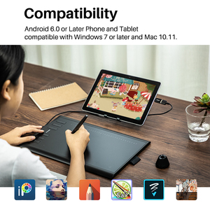 Image 2 - HUION H1060P Graphic Drawing Tablet Battery  free Stylus Tilt ±60° Digital Tablet 8192 Pen Pressure 12 Express Keys OTG Adapter
