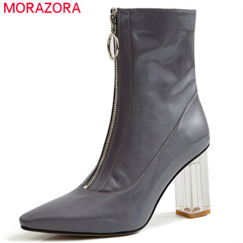 MORAZORA 2020 new arrival women ankle boots zipper crystal high heels autumn winter boots woman dress office shoes big size 42