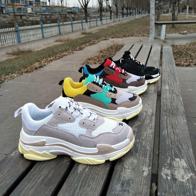 Nuevo 2019 zapatos casuales de mujer a la moda Zapatos de plataforma de cuero de gamuza zapatillas de deporte para mujer zapatillas blancas chussure Femme m483 KYSZDL gran oferta de alta calidad Natural granate pulsera moda mujer cristal pulsera joyería regalos