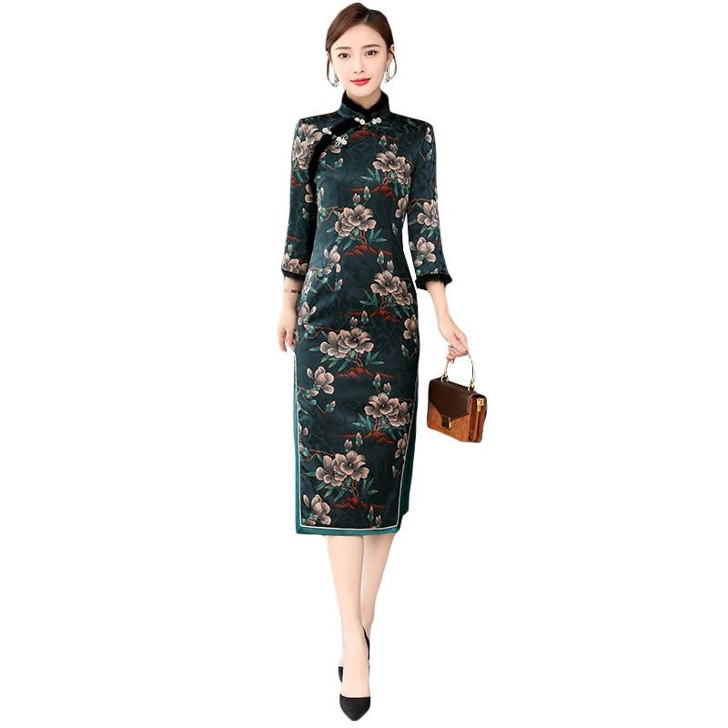 Винтажное хлопковое теплое китайское женское жаккардовое платье cheongsam Осень и зима 2019 Новинка