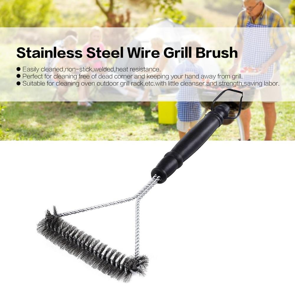 Grill Brush BBQ Barbecue Grill Brush Clean Tool Stainless Steel Wire Bristles Triangle Cleaning Brushes With Handle