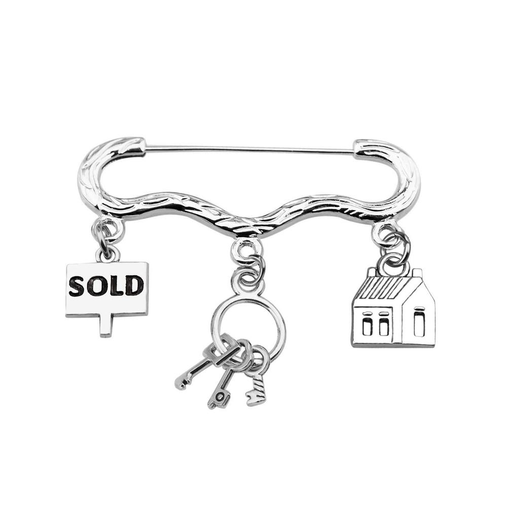 Yamily Sold Brooch Real estate agent mediationbrooch Alloy Sold Key house charm brooch women Jewelry Gift