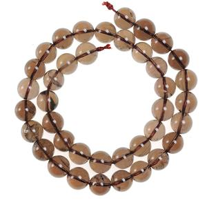 4mm 6mm 8mm 10mm 12mm pick size natural stone beads Round Loose Smooth smoky brown Quartz stone Beads For DIY Necklace Bracelet(China)