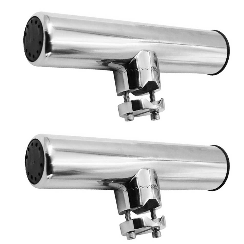"""Marine 316 Stainless Steel Boat Fishing Rod Holder Clamp on 7//8/""""-1/"""" Rail Mount"""