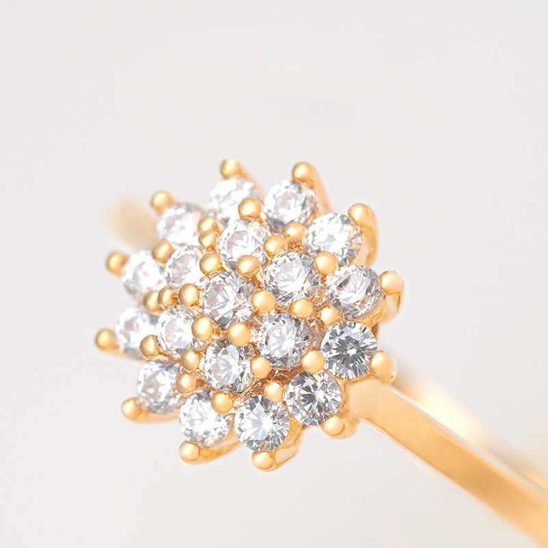 14K 옐로우 골드 1.5 캐럿 다이아몬드 반지 여성을위한 럭셔리 약혼 Bizuteria Anillos 보석 14K 골드와 다이아몬드 결혼 반지