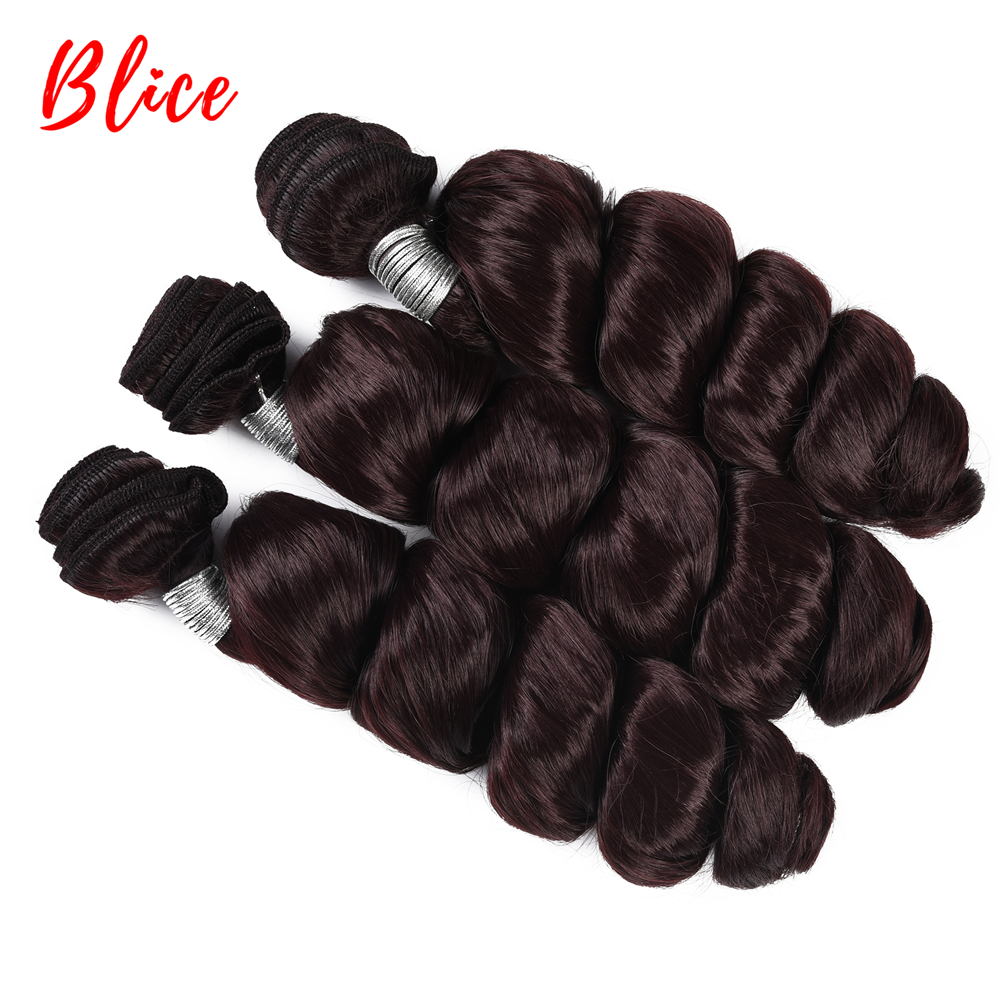 "Blice 3pcs/Lot Synthetic Loose Wave Weaving With Double Weft Curly Hair Extensions Wine-Red Color Hair Bundles For Women 18""-24"