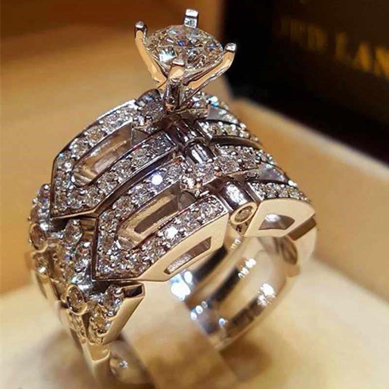 Cristal feminino grande anel de pedra conjunto boho moda rainha 925 prata anéis de noivado nupcial para as mulheres promessa amor dedo anel