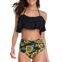 2019 Stylish Sexy Women Swimwear Plus Size Ruffle Swimsuit High Waist Print Backless Two Piece Bikini stylish flower hit color halter backless two piece swimsuit for women