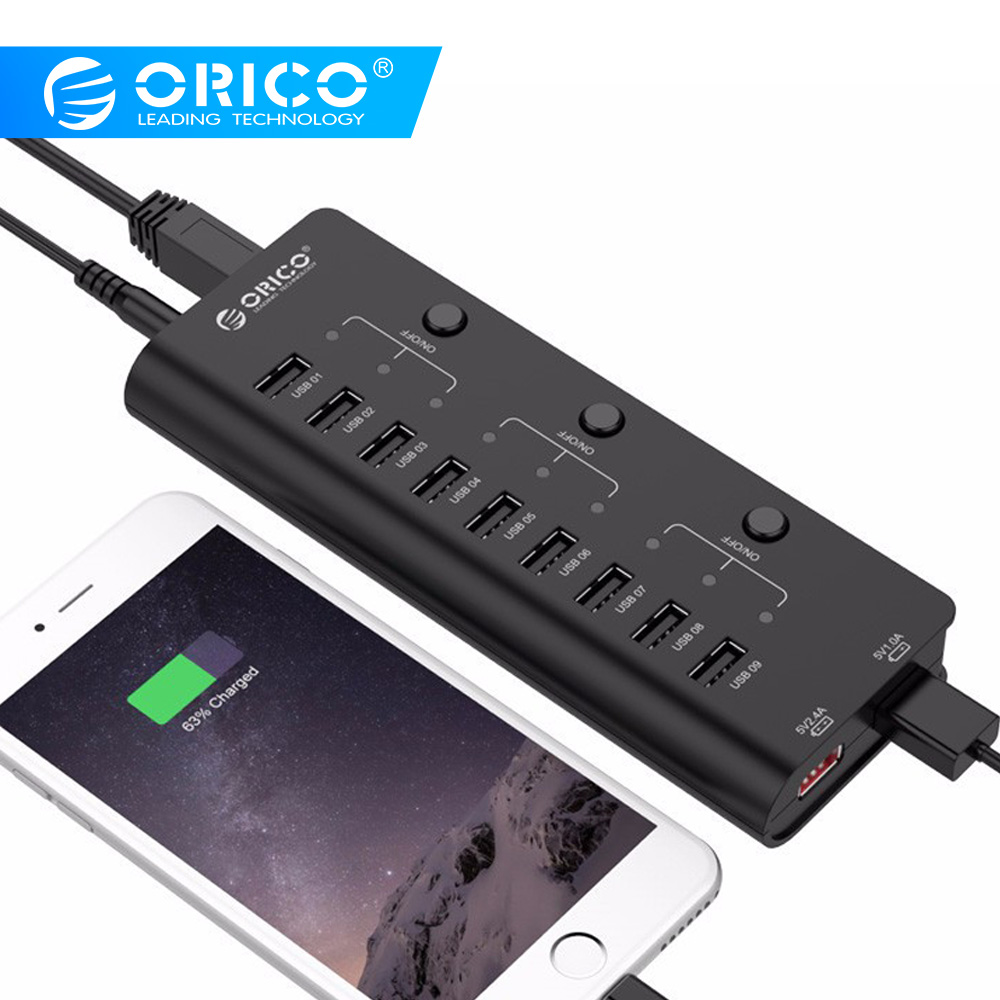 ORICO High Speed USB Hub Multi 9 Ports USB 2.0 Hub Splitter With ON/OFF Switch EU US AU UK Power Adapter For Mac OS Laptop PC