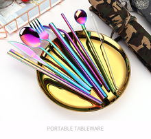 2019new stainless steel cutlery set chopsticks forks knives spoons straw spoon close bag portable