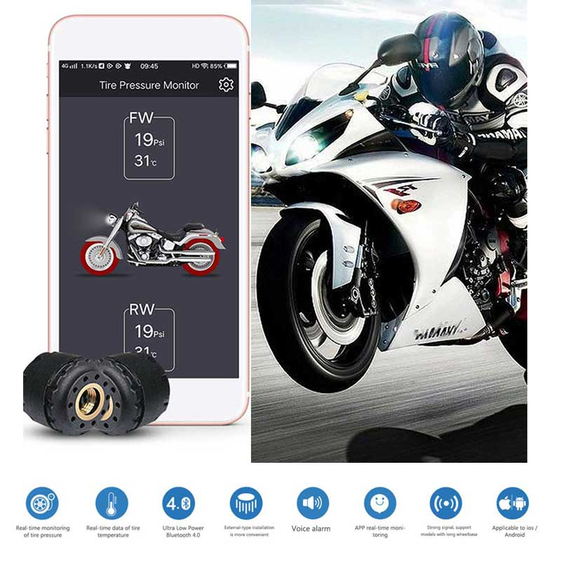 GIORDON Motorcycle TPMS Tire Pressure Monitoring System Wireless Bluetooth APP Presion Neumaticos Automovil 2 External Sensors