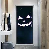 2PC Halloween door Sticker pumpkin print Home wall decals Car tiles glass furniture tiles mirror Background 38.5X200cm PVC
