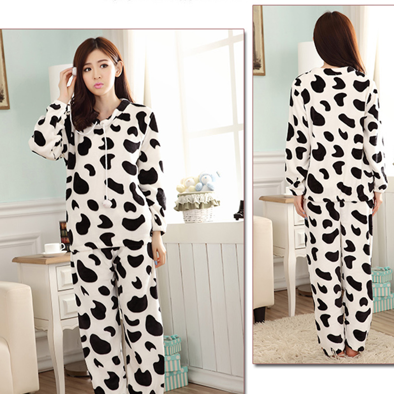 Autumn Winter Women Pyjamas Sets Pajamas Sleepwear Suit Thick Warm Coral Flannel Nightgown Female Cartoon Animal Pijama Mujer 16