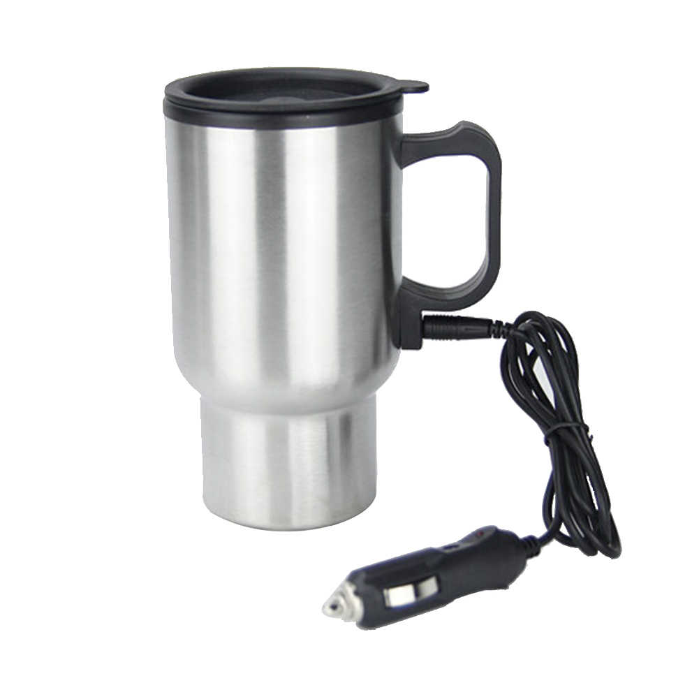 Portable Large Capacity Vehicle Mounted Travel Universal 12V Cup Stainless Steel Thermal Insulated Coffee Mug Splash Proof