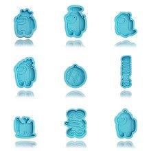 Imposter 8 tipos de molde de cozimento anime figura molde de biscoito diy moldes de bolo crianças bonito epóxi chaveiro brinquedos para presentes de natal