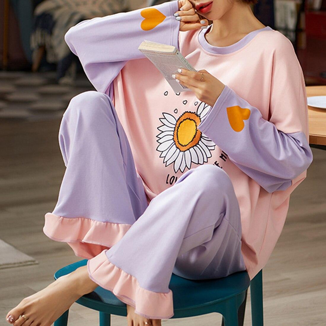 Женские пижамные комплекты Jodimitty, Осенние тонкие пижамы с длинными рукавами и милым принтом, пижамы для больших девочек, 2 шт., Mujer, Студенческая Пижама для отдыха Комплекты пижам      АлиЭкспресс