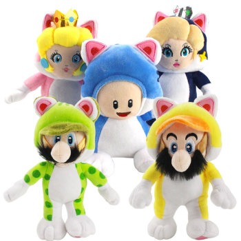 Hot Sale Super Mario Bros Plush Toy Mario Luigi Toad Princess Peach Rosalina Cosplay Cat Animals Soft Stuffed Dolls cosplay adults and kids super mario bros cosplay dance costume set children halloween party mario