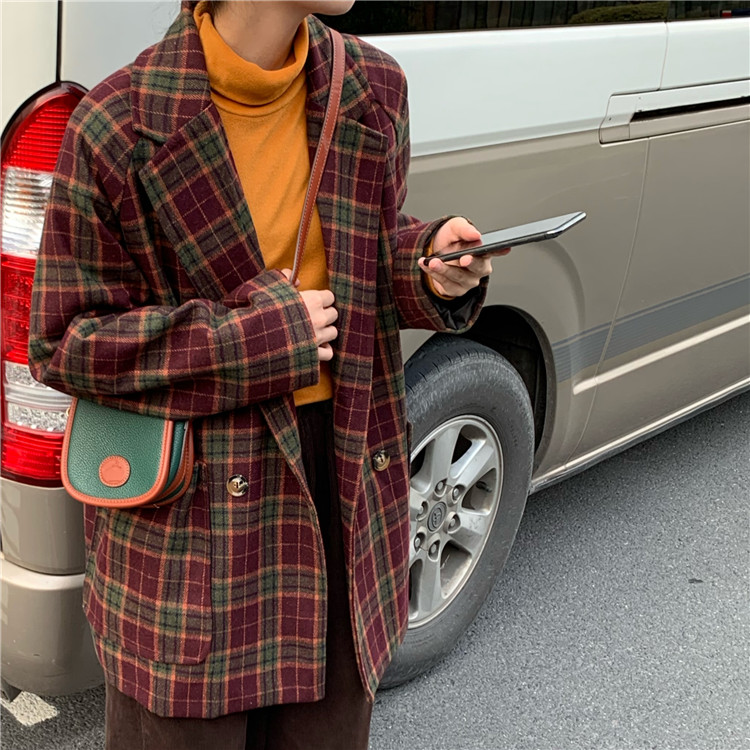 Retro Korean Plaid Ladies Blazer Red Loose Casual Simple Suit Jacket Stylish High Street Spring Autumn Women's Clothing MM60NXZ