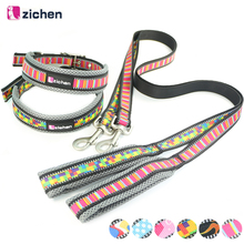 Zichen Pet Dog Leash Collar Adjustable Printing Reflective Breathable Mesh Nylon Durable For Dogs Collars Set Training S-L