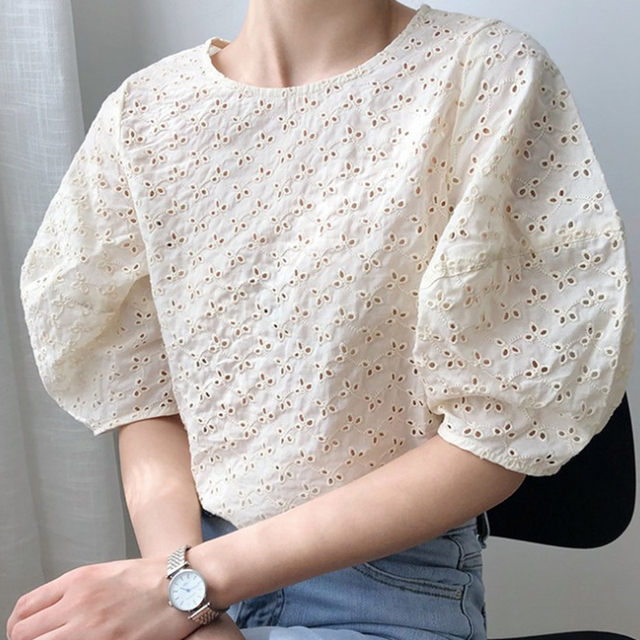 Korean Chic Summer Sweet Women Blouses Vintage O Neck Puff Sleeve Female Shirts 2020 Fashion New Hollow Out Blusas Mujer 3
