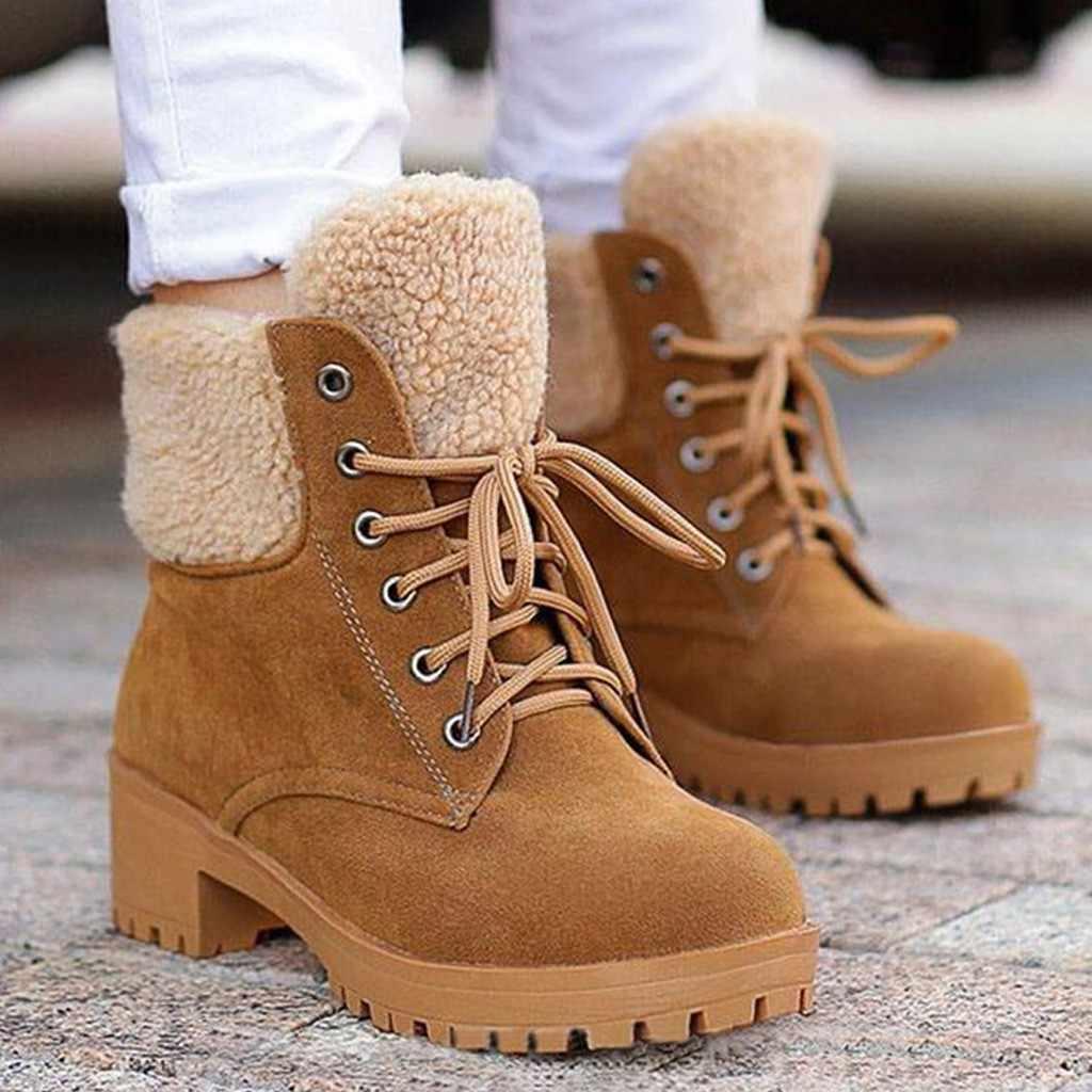 Kadın süet isıtıcı yürüyüş kar botları yuvarlak ayak saf renk kare topuklu ayakkabılar kadın kış dantel-up sıcak tutmak peluş taban patik