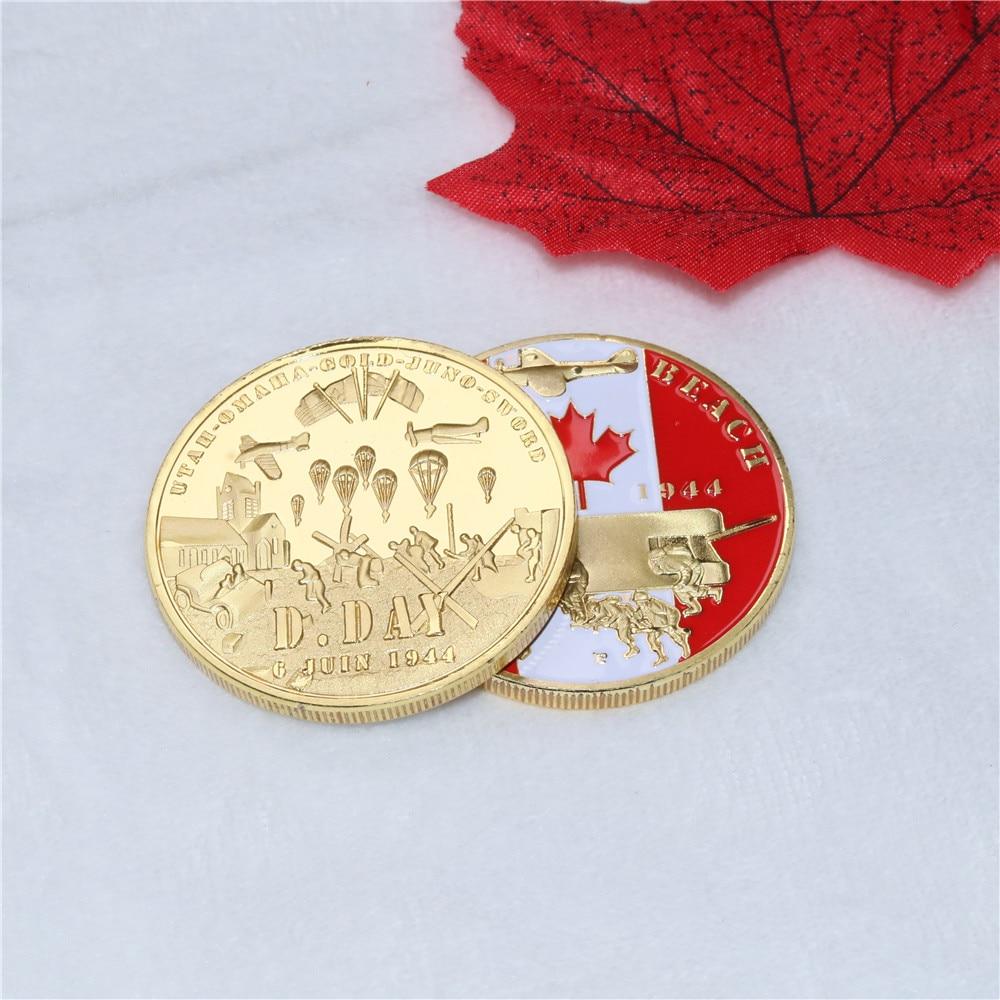Nizza Kanadischen souvenir für sammlung Kanada infanterie division WW2 D-Tag Juno Strand vergoldet münze Kanada gedenkmünzen