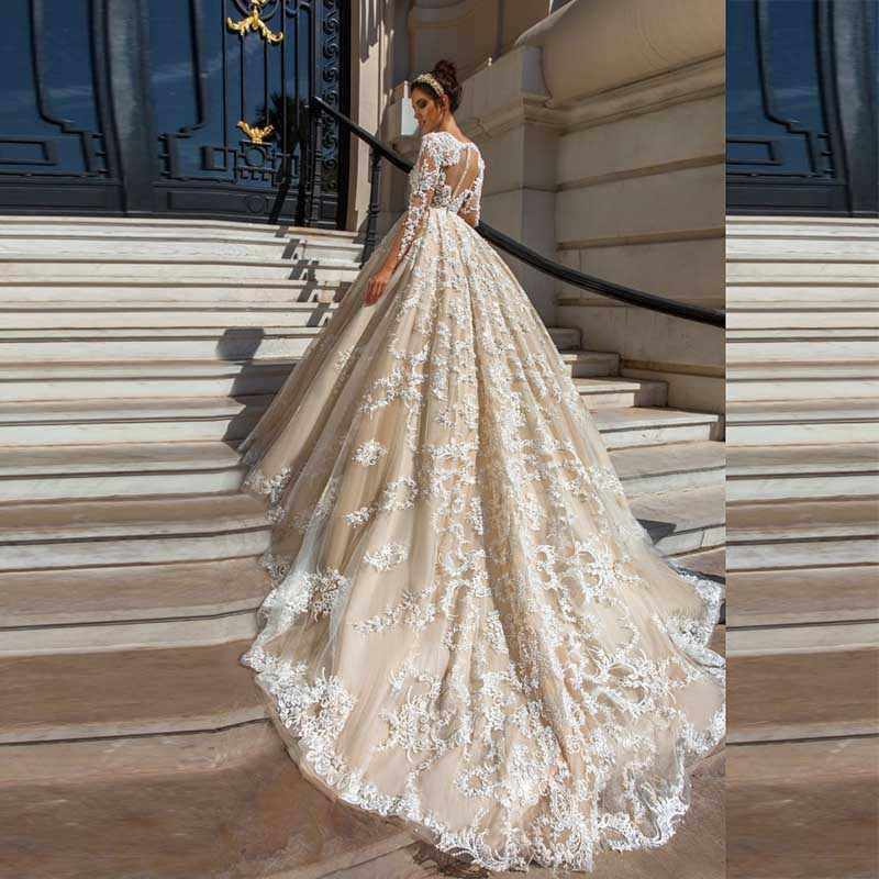 Lindo Lace Ball Vestidos de Casamento 2020 Sexy Illusion Apliques Nudez tulle Manga Comprida vestido De Noiva Vestidos de noiva Vestido De Noiva