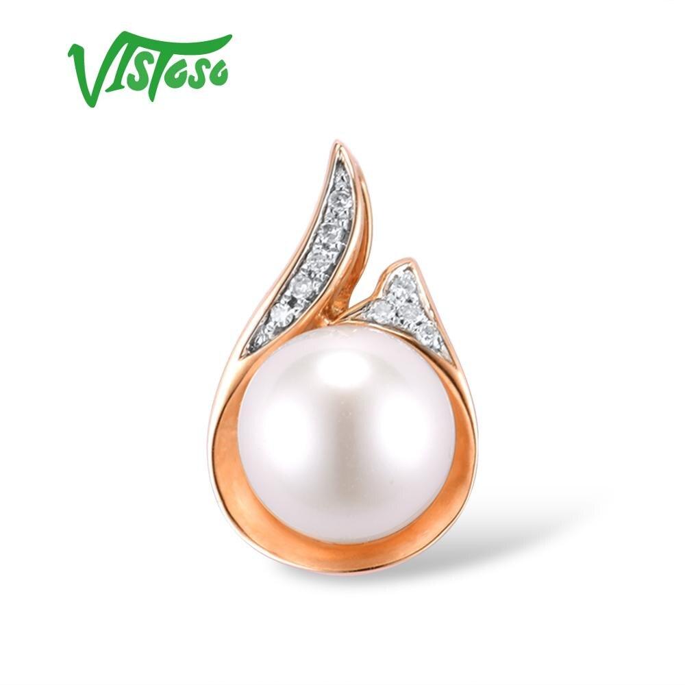 VISTOSO Gold Pendant For Women Pure 14K 585 Rose Gold Sparkling Diamond Elegant Fresh Water Pearl Pendant For Lady Fine Jewelry