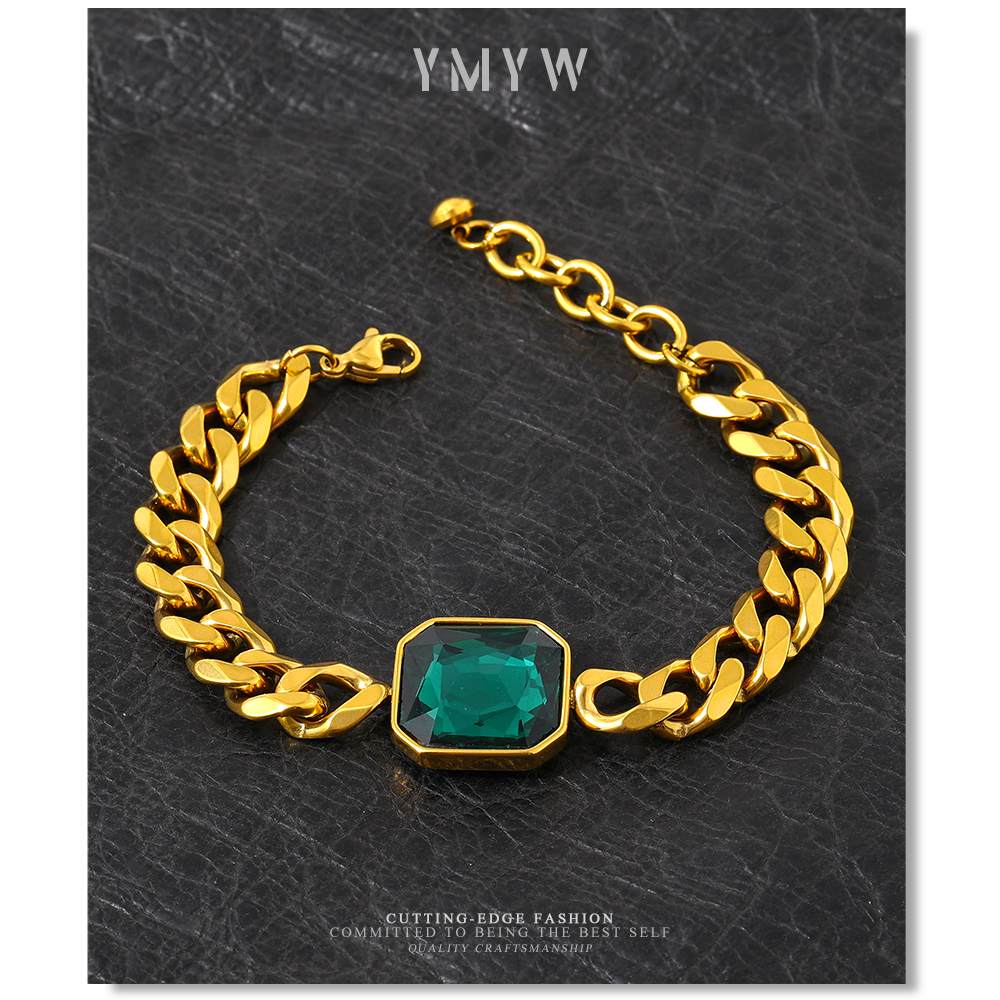 YMYW Green Crystal 316L Stainless Steel Thick Bracelet for Women Charm Gold 18 K Plated Bracelet украшения 2021 бижутерия
