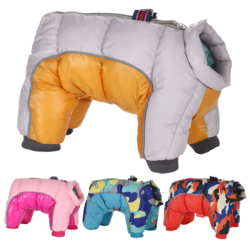 Reflective and Waterproof Dog Jacket with Four Full-Legged Overall Design for Winter