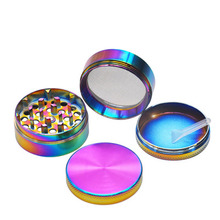 Tobacco Grinder 4 Layers Aluminum Alloy Material Colorful Ice Blue Cigarette  Hookah Shisha Accessories Rainbow