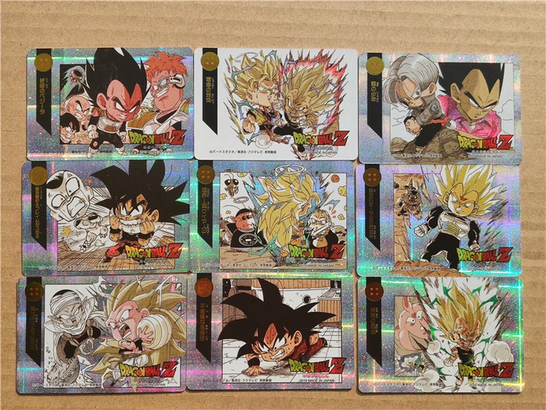 9pcs/set Dragon Ball Super Saiyan Goku Jiren Poker Game Action Toy Figures Commemorative Edition Collection Cards Free Shipping
