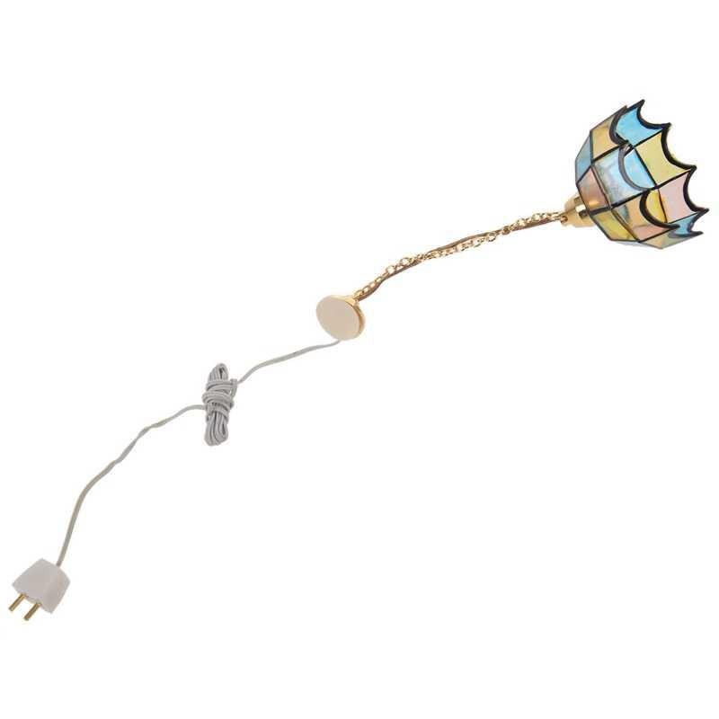 Миниатюрный Кукольный дом Цвет потолочный светильник & 1/12 кукольный домик миниатюра 12 В LED лампа светильник мебель