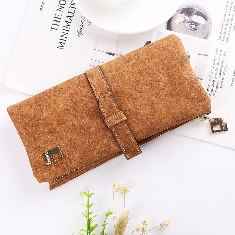 Famous Brand Long Purse Two Fold Women Wallets Drawstring Nubuck Leather Zipper Suede Wallet Ladies Carteira Feminina Clutch Bag