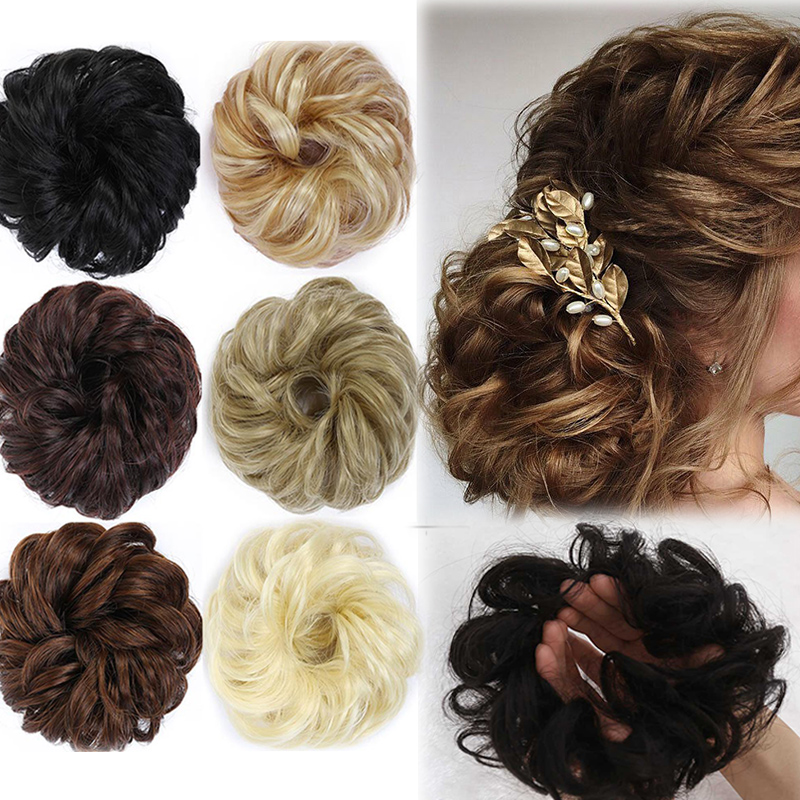 LUPU Curly Wavy Messy Chignon With Rubber Band Black Brown Hair Bun Extensions Donut Synthetic High Temperature Fiber Hair Piece