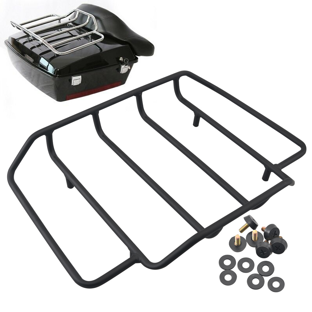 Black Luggage Rack Rail Top Case Lid Tour Pak Carrier For 1984-2019 Harley Touring Road King Glide Motorcycle Accessories
