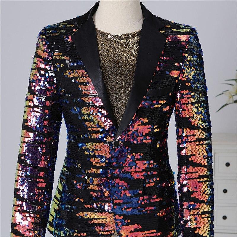 Masculino multi color lantejoulas blazer terno jaquetas bar discoteca concerto cantor estágio casual casaco cantor anfitrião desempenho traje - 3