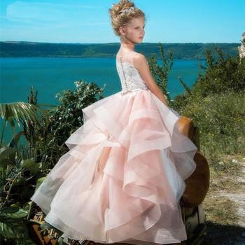 Śliczne dzieci kwiat sukienki dla dziewczynek na wesele rumieniec różowy pierwsza komunia suknie dla dziewczynek Ruffly chmura zroszony dla księżniczki na konkurs piękności suknie tanie i dobre opinie Feliru Długość podłogi Suknia balowa SCOOP Bez rękawów Tulle Frezowanie Koronki Skrzydeł Wielowarstwowa 12199 REGULAR
