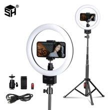 9 بوصة/23 سنتيمتر LED مصباح مصمم على شكل حلقة Selfie حلقة مصباح مع ترايبود للهاتف للصور استوديو ماكياج الفيديو الضوئي