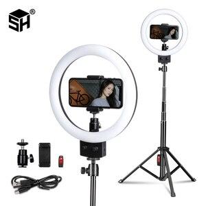Image 1 - Anillo de luz LED para Selfie, lámpara con trípode para teléfono, estudio fotográfico, maquillaje, vídeo, 9 pulgadas/23cm