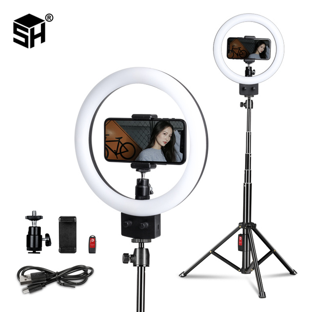 Anillo de luz LED para Selfie, lámpara con trípode para teléfono, estudio fotográfico, maquillaje, vídeo, 9 pulgadas/23cm