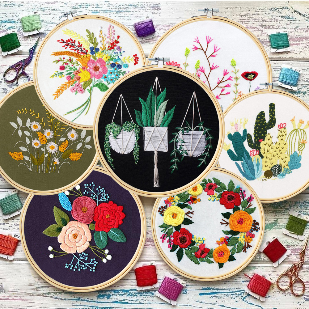 DIY Flowers Plants Pattern Embroidery Set Needlework Tools Printed Embroidery Fabric Round Embroidery Kit DIY Sewing Craft Kit