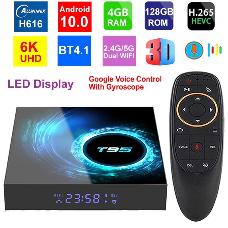 T95 6K Smart TV Box Android 10.0 Allwinner H616 Quad Core 4GB 128GB 2.4G/5G Dual WIFI HDR H.265 6K Media Player Set Top Box