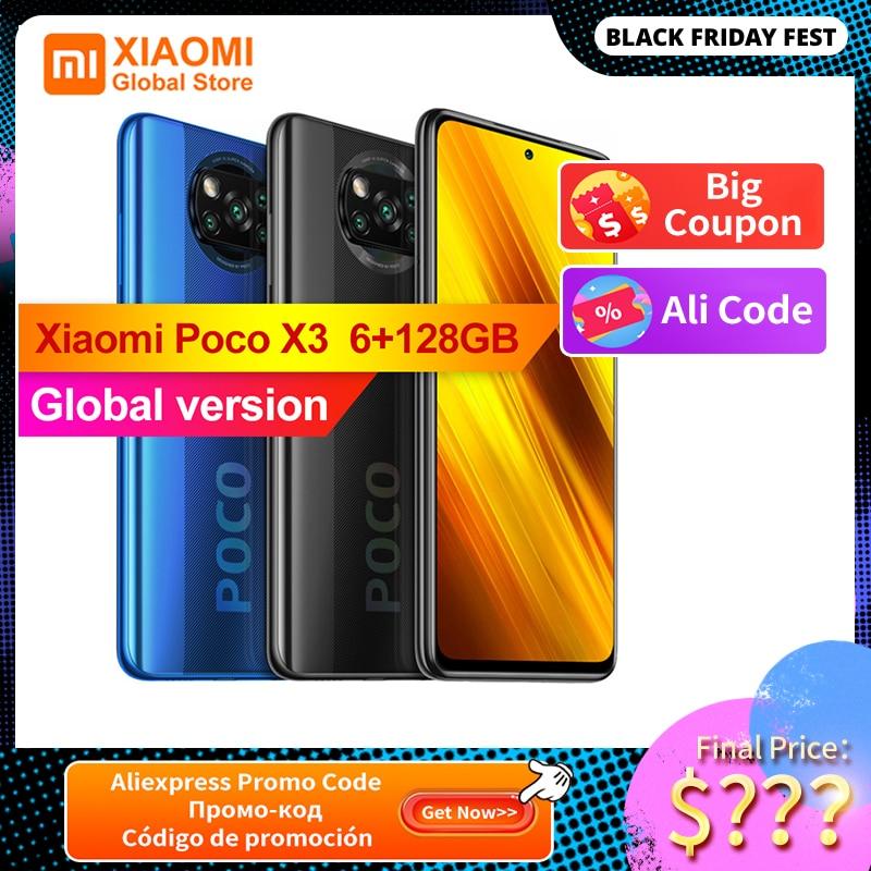 Global Version Xiaomi POCO X3 6GB 128GB Smartphone NFC Snapdragon 732G Octa Core 64MP Camera Mobile