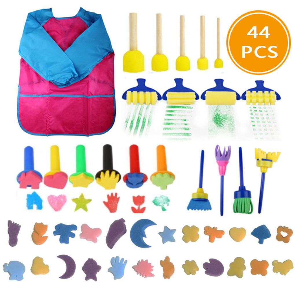 44pcs Sponge Painting Brushes Kit Mini DIY Painting Kits Early Learning Kids Drawing Shapes Brushes Paint Set Child Play Gift