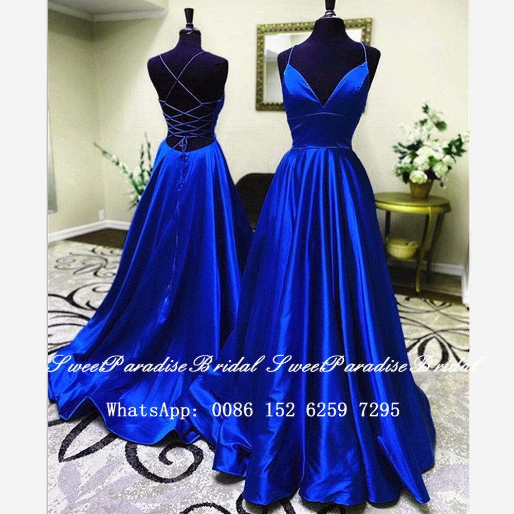Sexy Criss Cross Back Bridesmaid Dresses Royal Blue Satin 2020 Long A Line Spaghetti Sweetheart Wedding Guest Dress Vestidos