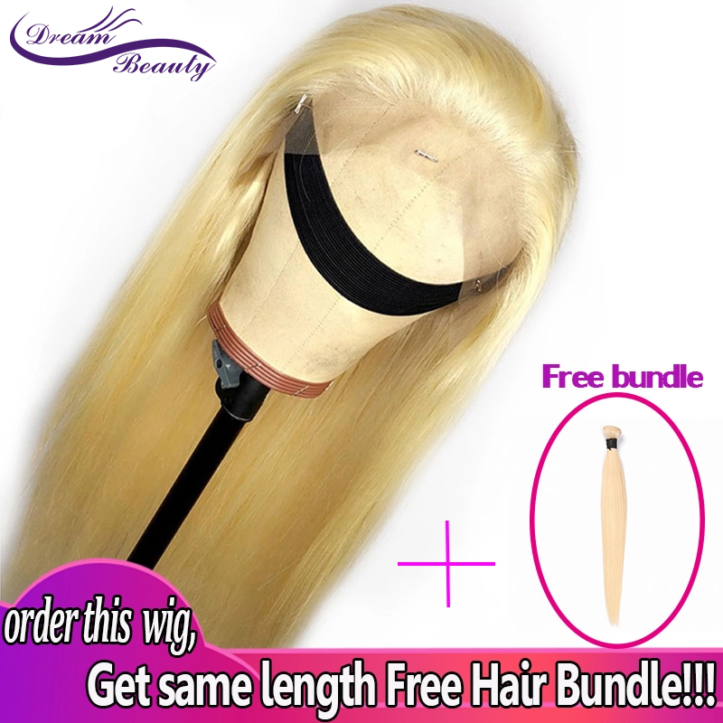 #613 Blonde Wigs 180% Density Silky Straight Brazilian Remy Human Hair lace front Wig 613 Lace Front Human Hair Wig Dream Beauty image