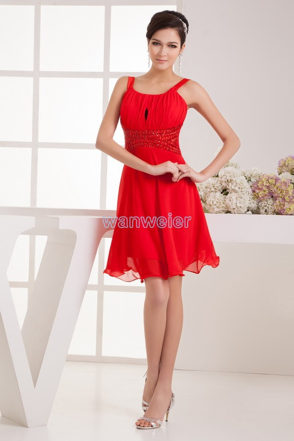 Free Shipping 2018 New High Quality Design Unique Classy Strap Beading Sexy Brides Maid Chiffon Red Bridesmaid Dresses