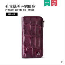 gete New crocodile skin handbag for women purse long style fashionable bag leather belly with large capacity