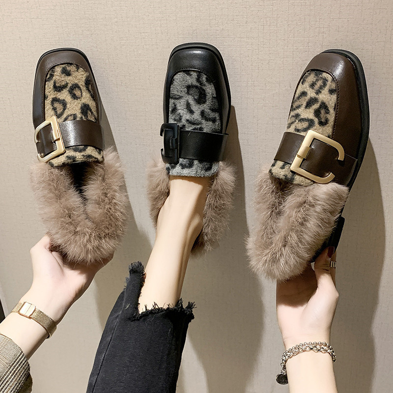 Winter Shoes Women Shallow Mouth Square Toe Loafers Fur Casual Female Sneakers Autumn 2019 Fashion Women's British Style Low 40